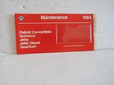 Vintage 1984 Vw Rabbit Scirocco Jetta Quantum Warranty Book New Vw107