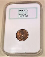 1929 S 1C (CENT) RED NGC GRADED MS65 RD-NGC CENSUS 146/26-95% COPPER-5% TIN/ZINC