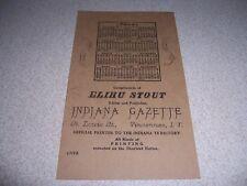 1804 ELIHU STOUT INDIANA GAZETTE CALENDAR REPRO ADVERTISING POSTCARD