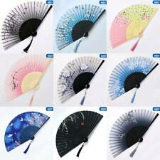 7''Japanese Chinese Hand Fan Folding Silk Bamboo Printing Wedding Props