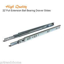"Pair of 22"" Full Extension Ball Bearing Kitchen Cabinet Closet Drawer Slides"
