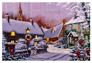 Large Quality Festive Christmas Snow Scene Light Up LED Canvas/Picture 60 x 40cm