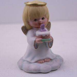 1 Birthday Angel holding Cake Wishing extra little Blessing on birthday Ceramic