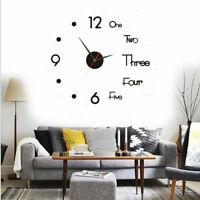 Modern DIY Large Wall Clock Acrylic Mirror Sticker Living Room Clocks 70*80cm US