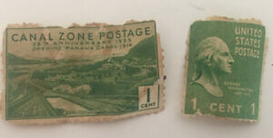 1938 George Washington U.S. 1 cent Stamp 1939 Canal Zone Postage Lot Of 2 Green