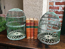 Pair Antique French Bird Cage Birdcage Green Metal Wire Dome Rope Light Fixture