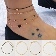 4pcs/Set Gold Plated Heart Beads Ankle Chain Foot Anklet  Women's Jewelry Gift