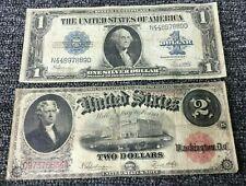 New ListingLot Pair Horseblanket Large Siz 00006000 e Us Notes Lg $1 Silver Cert. & 1917 $2 Red Seal
