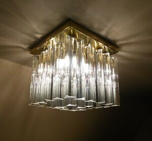 VINTAGE MID CENTURY PAOLO VENINI TRILOBE CHANDELIER CEILING LAMP MURANO CRYSTAL