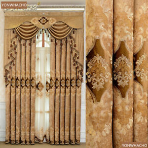 embroidered chenille coffee thick cloth blackout curtain valance drape B819