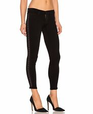 HUDSON Midrise BLack  LUNA SUPER SKINNY CROP JEAN SIDE Metallic 24 NWT$325 Ankle