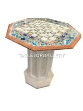 "2' White Marble Table Top With 18"" Stand Multi Floral Stones Inlay Decorate W018"
