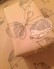 Cutest Original Hand Printed Gift Wrap & 2 Tags. Hedgehog. 70 X 50cm
