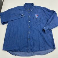 Vintage New York Rangers Button Up Shirt Mens  XXL Blue Denim Long Sleeve Casual
