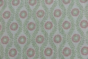 """COLEFAX AND FOWLER CURTAIN FABRIC DESIGN """"Swift"""" 2 METRES PINK/GREEN 100% LINEN"""