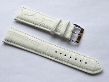 Replacment Quality Lug Size 22mm White Genuine Leather Alligator Grain FOSSIL