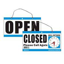 Open Closed Will Return Clock Sign 6 x11.5 Window Store with Time hanging Chain