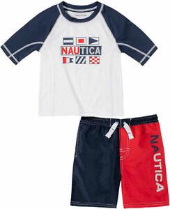 Nautica Boys Navy & Red 2pc Rashguard Swim Set Size 2T 3T 4T 4 5 6 7