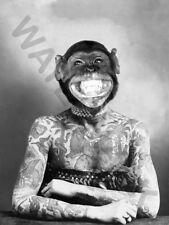 MONKEY HEAD TATTOO APE WOMAN PRINT ONLY ART POSTER HP3777