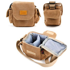DURAGADGET Tan-Brown Small Sized Canvas Carry Bag for Pentax Q-S1 / Q7 Camera