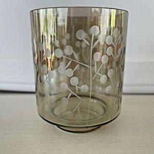 Crate and Barrel Glass Melada Hurricane Candle Holder Pedestal
