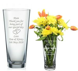 personalised engraved glass Crystal Vase Birthday Wedding 70th 80th 90th Gift