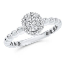 Set Cocktail Oval Right Hand Ring 14K White Gold Pave Diamond Illusion