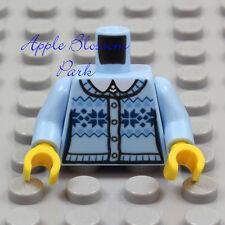 NEW Lego Female BLUE SKI SWEATER MINIFIG TORSO Girl White Shirt Light Dark Top