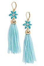 Kate Spade 'lovely lilies' beaded fringe tassel earrings Turquoise Blue NWOT