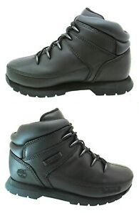 New Boys TIMBERLAND Boots Euro Sprint Black Kids School Leather Sale Size 7-6.5