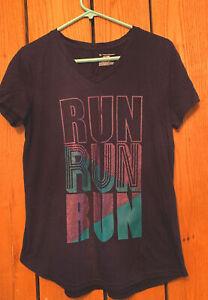 Womens Size M Tek Gear DryTek Short Sleeve Run Run Run Athletic T-shirt
