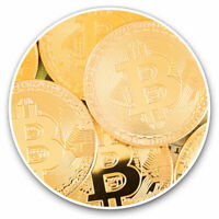 2 x Vinyl Stickers 7.5cm - Shiny Bitcoin Currency? Cool Gift #12490