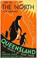 Vintage Travel Australia tourist Poster A2 PRINT Queensland tropics sunshine art