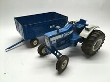 Vintage Ertl 1/12 Scale Ford 8600 Die Cast Tractor & Big Blue Wagon Used