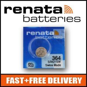 2 x Renata 364 1.55v SR621SW Watch Cell Batteries Mercury Free !!!!!