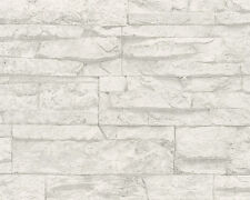 REALISTIC WHITE GREY STONE WALL BRICK FEATURE WALLPAPER A.S.CREATION 7071-61