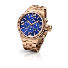 TW Steel Mens 50mm Rose Gold Canteen Bracelet Chronograph Watch CB184