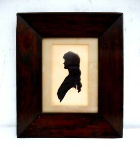 Antique 19th C. Cut Out Silhouette in Rosewood Frame Dated 1886 Female Profile