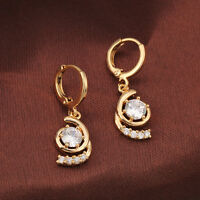 Womens 14K Yellow Gold Filled Big Clear CZ Pendant Hoop Earrings Wedding