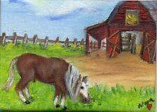 ACEO Orig Art Oil painting Equestrian Horse Landscape Pony  Barn Nova Hart
