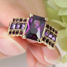 Size 8 Gold Plated Princess Cut Ring Amethyst Wedding Engagement Bridal Mother