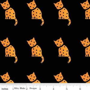 Riley Blake/J.Wecker Frisch Halloween Old Made Cat Stamp Black Cotton Fabric
