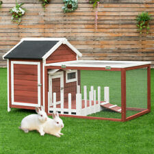 Wooden Rabbit Hutch Chicken Coop Bunny Small Animal Cage House White Picke Fence