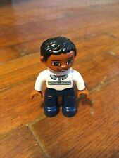 "LEGO DUPLO Father Man Dad White Shirt 2.5"" FIGURE Black Hair Asian Hispanic"