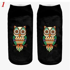 3d Unicorn Print Men Women Casual Low Cut Socks Cotton Animals Pattern Socks 1 Owl