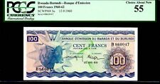 """RWANDA P5a """"ZEBU"""" 1960 100 FRANCS PCGS 55 """"FINEST KNOWN"""" EXTREMELY RARE IN GRADE"""