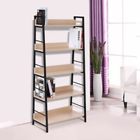 Bookcase Bookshelf Wide 5-Tier Shelf Wooden Furniture Shelving Home Décor