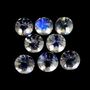 5pcs Natural Rainbow Moonstone 5mm Round Faceted Cut Loose Gemstone