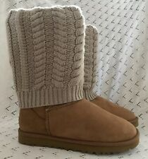 Ugg Chestnut Boots with Cable Knit Cuff.  New Without Box. Never Worn. UK 5.5