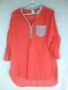 CHARMING CHARLIE Chiffon Blouse Women's  L Coral Polyester Tunic Top
